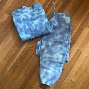 Tie Dye Sweat Set Handmade (Blue Dye)